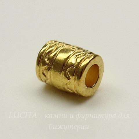 """Бусина металлическая """"Волнистая"""" 7х6 мм (цвет - золото), 5 штук"""