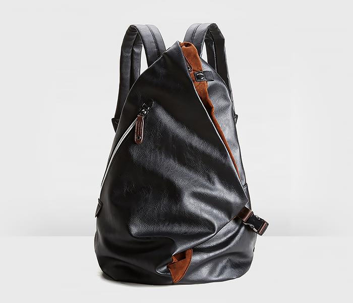 BAG424-1 Оригинальный мужской рюкзак из кожи черного цвета фото 01