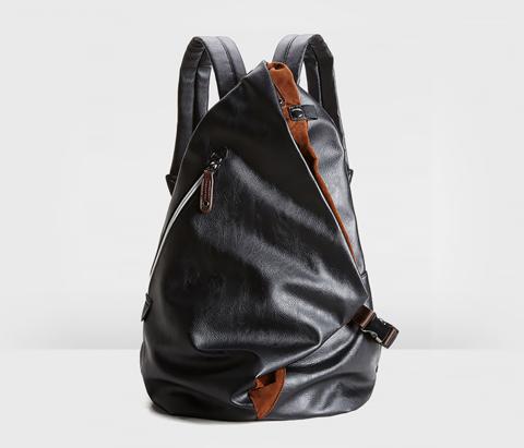 BAG424-1 Оригинальный мужской рюкзак из кожи черного цвета