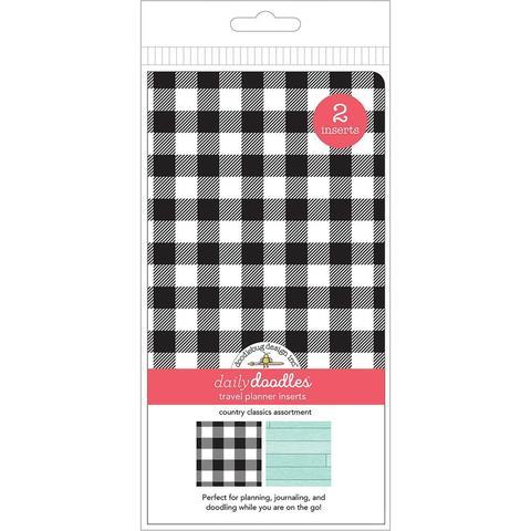 Набор внутренних блоков для тревелбука  - 11х21 см Doodlebug Planner Inserts -Country Classics Grid & Dot Grid - 2 шт