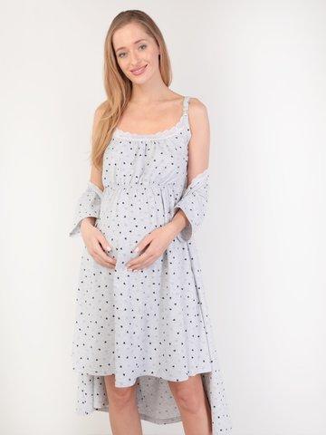 Евромама. Комплект для беременных и кормящих с коротким рукавом и кружевом, сердечки серый