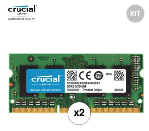 Комплект модулей памяти Crucial 16GB для Apple 2011-2012-2015. Набор 2x 8GB 1600MHZ DDR3L SO-DIMM PC3-12800