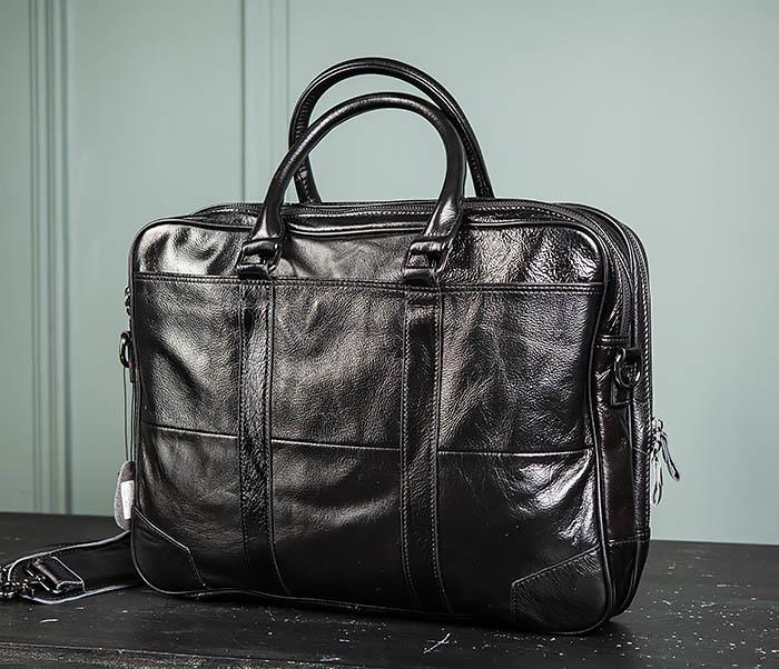 BAG491-1 Мужской кожаный деловой портфель черного цвета фото 08