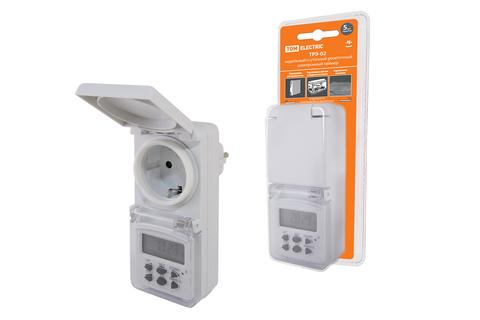 Таймер розеточный ТРЭ-02-1мин/7дн-10on/off-8А-IP44 (недельный, защита от влаги) TDM