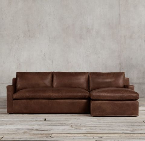 Belgian Track Arm Leather Right-Arm Sofa Chaise Sectional