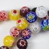 """Бусина стеклянная ручной работы """"Миллефиори"""", шарик, цвет - микс, 10 мм, нить"""