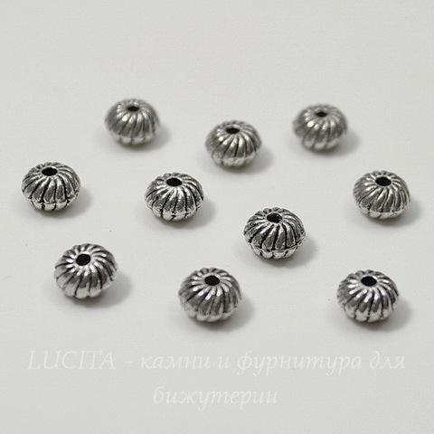 Бусина металлическая - рондель (цвет - античное серебро) 6х4 мм, 10 штук