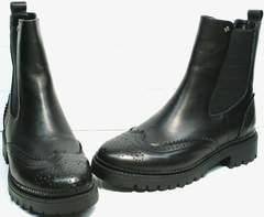 Осенне весенние ботинки женские Jina 7113 Leather Black