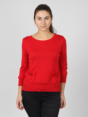 1550-2 кофта жен. длин.рукав красная