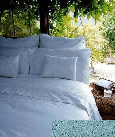 Постельное белье 2 спальное евро Bovi Флер голубое