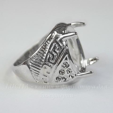 Основа для кольца с сеттингом для страза 18х13 мм (цвет - платина)
