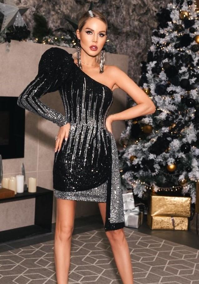 Платье из серебристо-черных пайеток с рукавом буфф