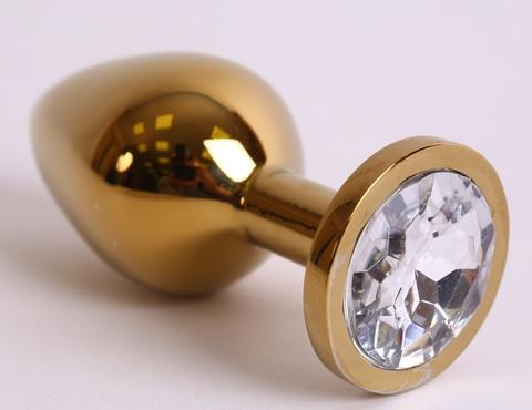 Анальная пробка золото со вставкой белый страз 9,5х4см, сталь