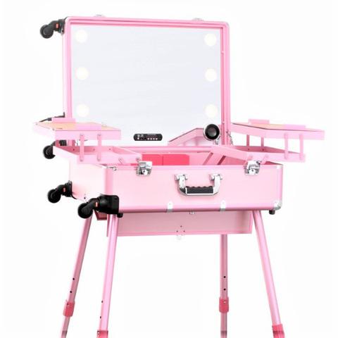 Бьюти кейс визажиста на колесиках (мобильная студия) LC015 Premium Pink