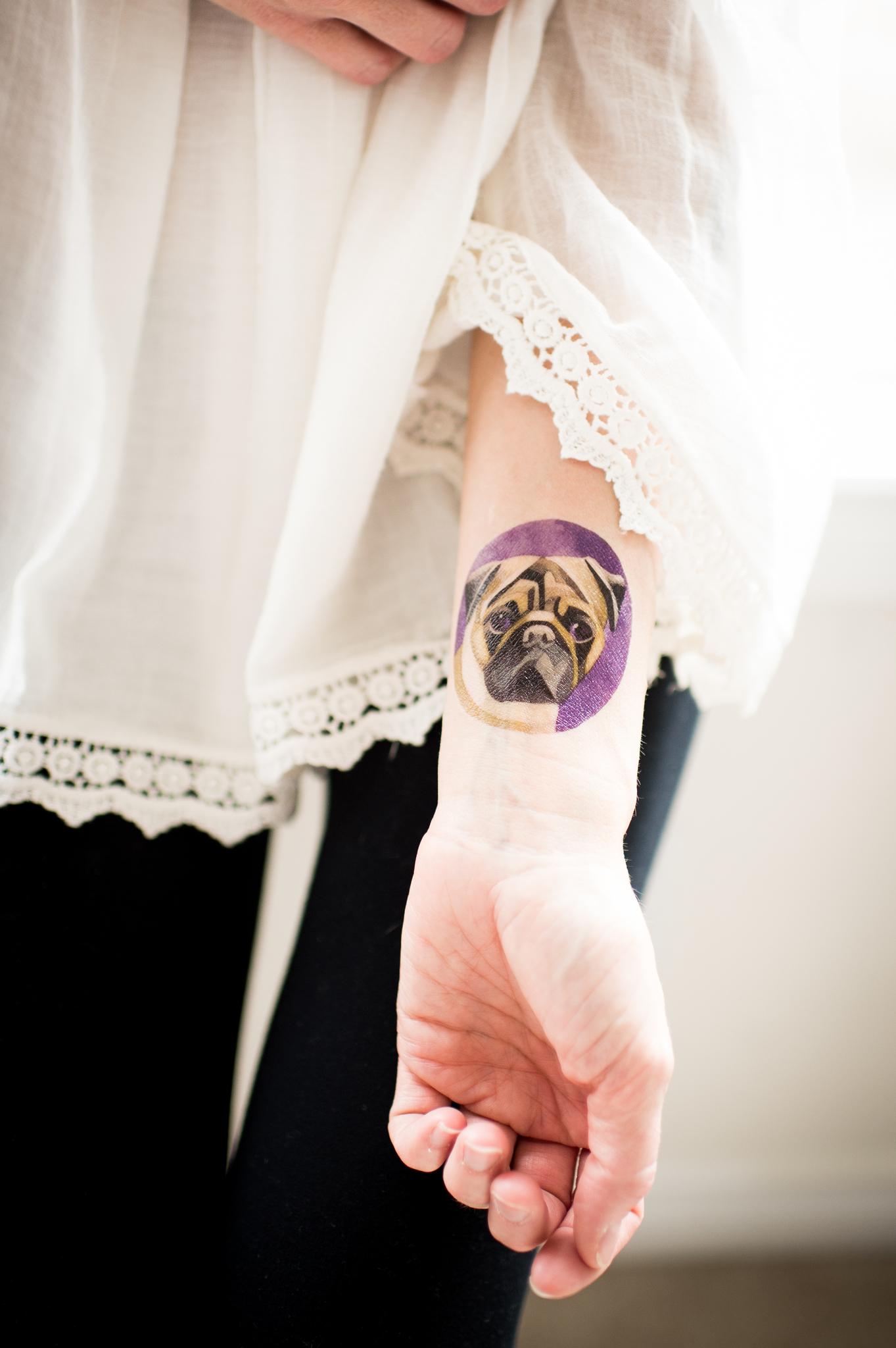 Переводная татуировка Pug