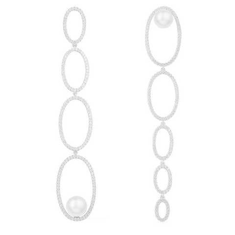Ассиметричные, длинные серьги из серебра с цирконами и жемчугом в стиле APM MONACO
