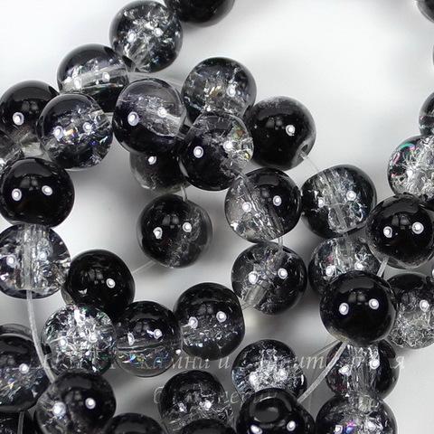 """Бусина стеклянная """"Крэкл"""", шарик, цвет - черный, 8 мм, нить"""