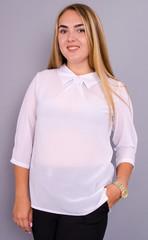 Кортни. Нарядная женская блузка больших размеров. Белый.