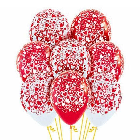 Букет из Воздушных шаров с Двойными Сердцами