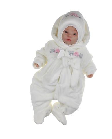 Велюровый утепленный комбинезон для новорожденных Цветочки айвори