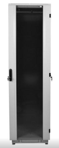 Шкаф телекоммуникационный напольный 42U (600 × 800) дверь стекло, цвет чёрный