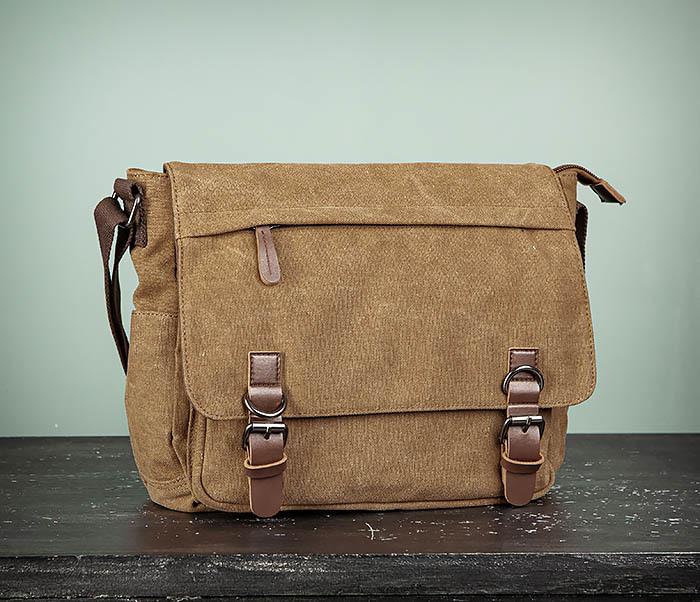 BAG504-2 Мужской портфель из ткани коричневого цвета