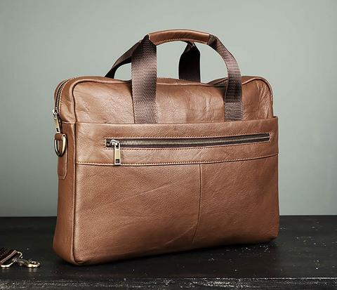 Шикарный мужской портфель из натуральной кожи с ремнем на плечо