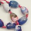 Бусина Агат цветочный (тониров), овал с огранкой, цвет - голубой с розовым, 18х13 мм, нить