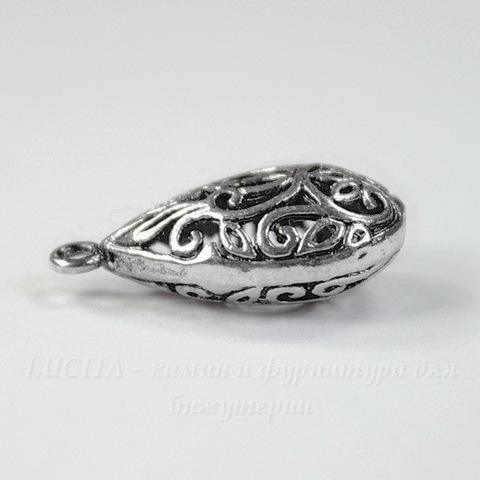 """Подвеска 3D """"Ажурная капля"""" 21х11 мм (цвет - античное серебро)"""