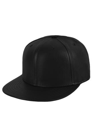 Бейсболка кожаная черная