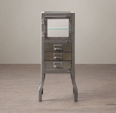 Pharmacy Short Cabinet with Drawers - Burnished Steel