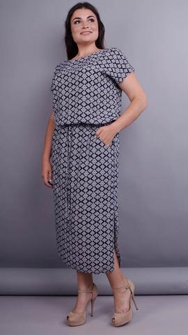 Мрія. Легка сукня для жінок плюс сайз. Синій+орнамент.