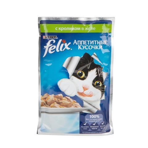 Felix кусочки в желе для кошек с кроликом 85 г
