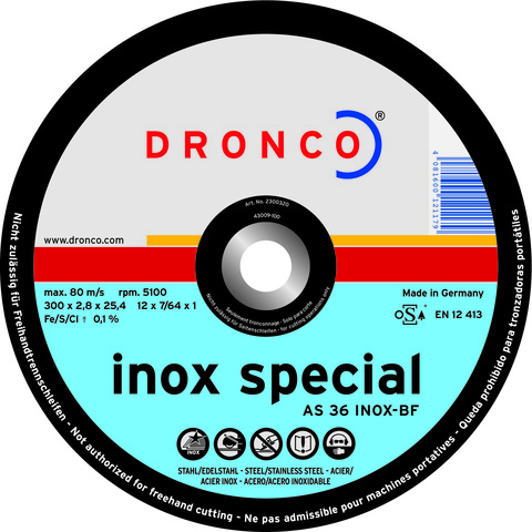 Абразивный отрезной диск Dronco AS 36 S INOX-BF 350х2,8