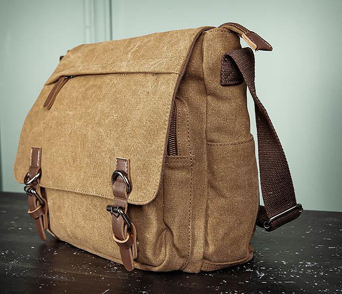 BAG504-2 Мужской портфель из ткани коричневого цвета фото 06