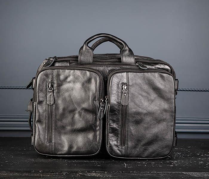 BAG512-1 Портфель рюкзак трансформер из натуральной кожи фото 02
