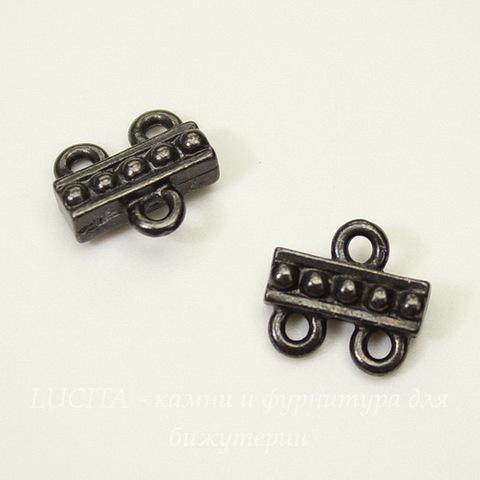 """Коннектор TierraCast """"Бусинки"""" (1-2) 10х10 мм (цвет-черный никель)"""