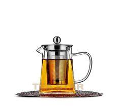 Чайник заварочный с колбой, стеклянный, квадратный, 500 мл