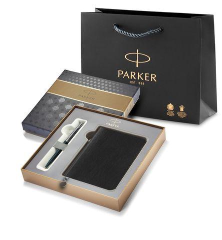 Подарочный набор с Ежедневником недатированным, синий  и Шариковая ручка Parker Jotter K60, цвет: Black