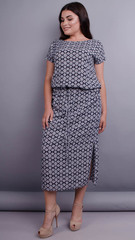 Мрия. Легкое платье для женщин плюс сайз. Синий+орнамент.