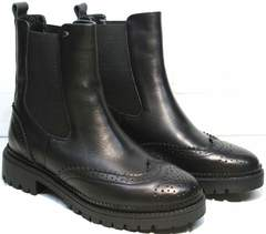 Ботинки женские на осень Jina 7113 Leather Black