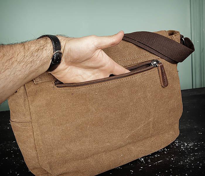 BAG504-2 Мужской портфель из ткани коричневого цвета фото 08