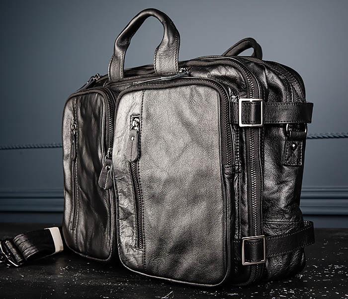 BAG512-1 Портфель рюкзак трансформер из натуральной кожи фото 04