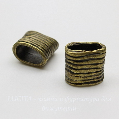 """Бусина для шнура 11х5 мм """"Полосатая"""" (цвет - античная бронза) 14х13х9 мм"""