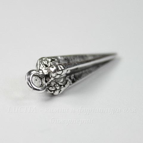 "Подвеска ""Конус"" 22х6 мм (цвет - античное серебро)"