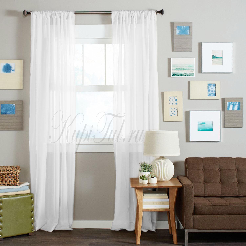 Длинные шторы. Тюль вуаль Classic Voile-2 (white)