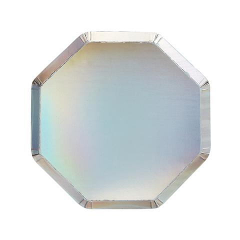 Маленькие серебряные голографические тарелки