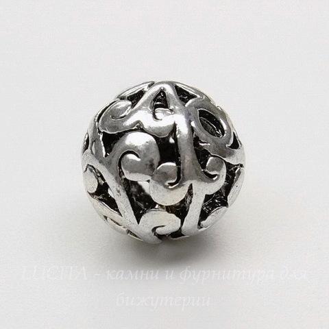 """Бусина металлическая """"Ажурная"""" 10 мм (цвет - античное серебро)"""