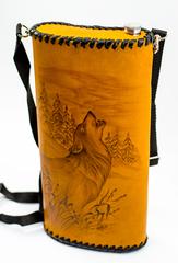 Фляга «Волк», натуральная кожа с художественным выжиганием, 2 л