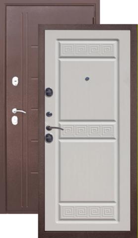 Тёплая дверь входная Цитадель Троя 10 см , 2 замка, 1,5 мм  металл, (медь антик+белый ясень)